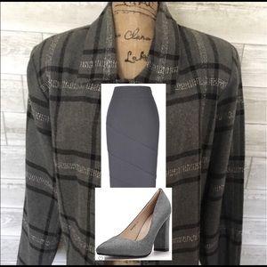 Lined charcoal plaid wool blazer
